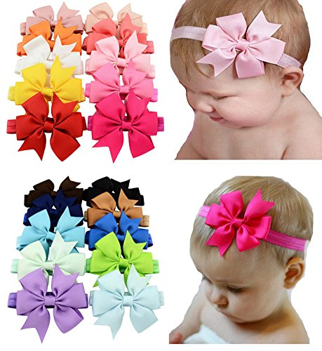 Baby Headbands Turban Knotted, Girl's Hairbands for Newborn,Toddler and Childrens (20 Color Bow 3