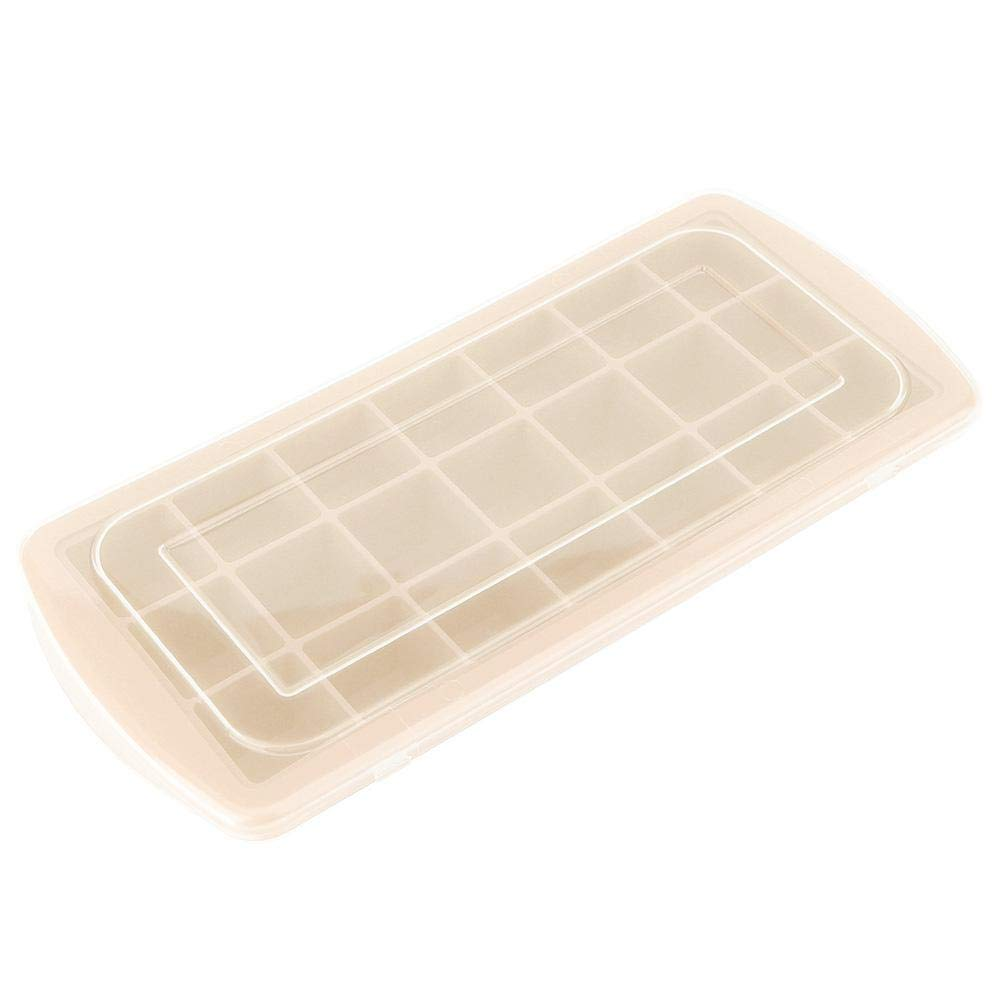 Ice Cube Tray, 21 Grid Silicone Ice Mold Ice Tray Ice Cube Popsicle Ice Box With Lid(beige) by Wifehelper