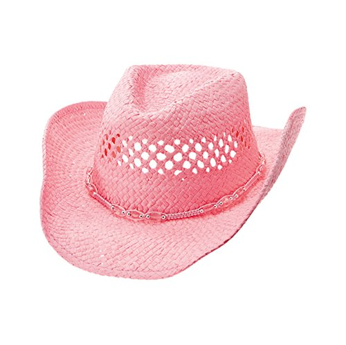 Pink Cowboy Straw Hat - Enimay Men's Womens's Western Outback Straw Canvas Cowboy Hat Pink One Size