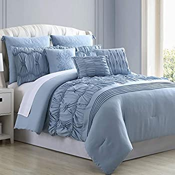 Image of Home and Kitchen Amrapur Overseas Sharan 8-Piece Embellished Comforter Set, Queen, Blue