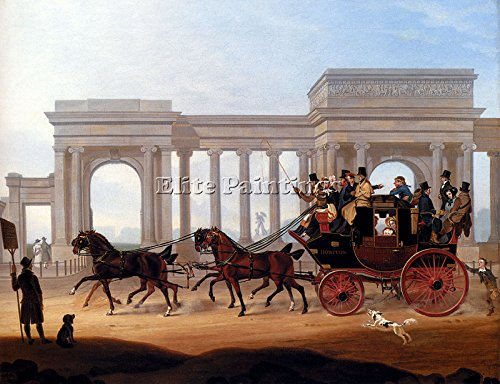 BOUGHTON HENRY DEFIANCE COACH HYDE PARK CORNER ARTIST PAINTING OIL CANVAS REPRO 36x48inch MUSEUM QUALITY