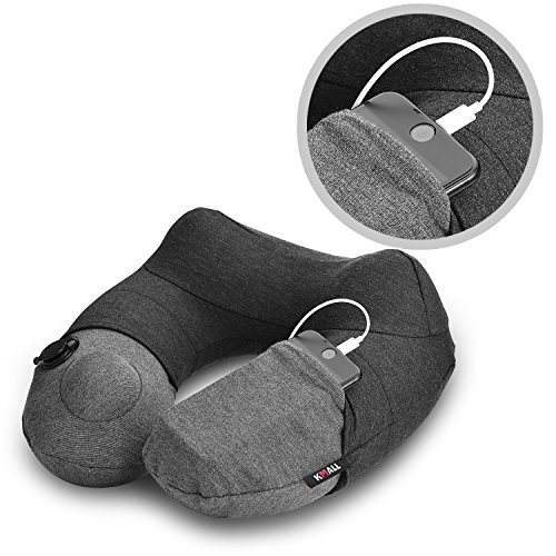 Kmall Inflatable Travel Neck Pillow for Airplane Travel Best Neck Support Sleep Travel Pillow with Super Comfort Pillow Case by Kmall (Image #2)