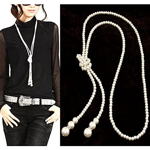 [Double Strand Knotted Long Pearl Necklace Three Feet of Strings] (Knotted Pearl Strand)