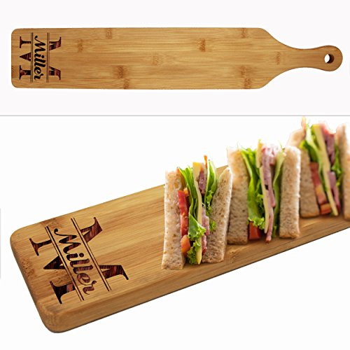 Custom Engraved Cheese and Crackers Serving Board - Personalized Bamboo Wood Appetizer, Meat, Bread Platter