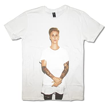 Amazon.com: Justin Bieber White Shirt Jumbo Image Adult T Shirt ...