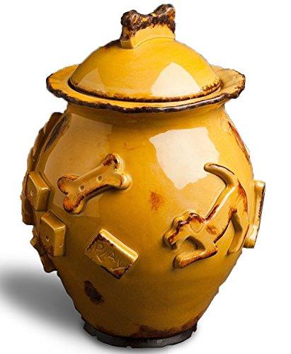 Carmel Ceramica PDJC3005Dog Treat Jar, Caramel