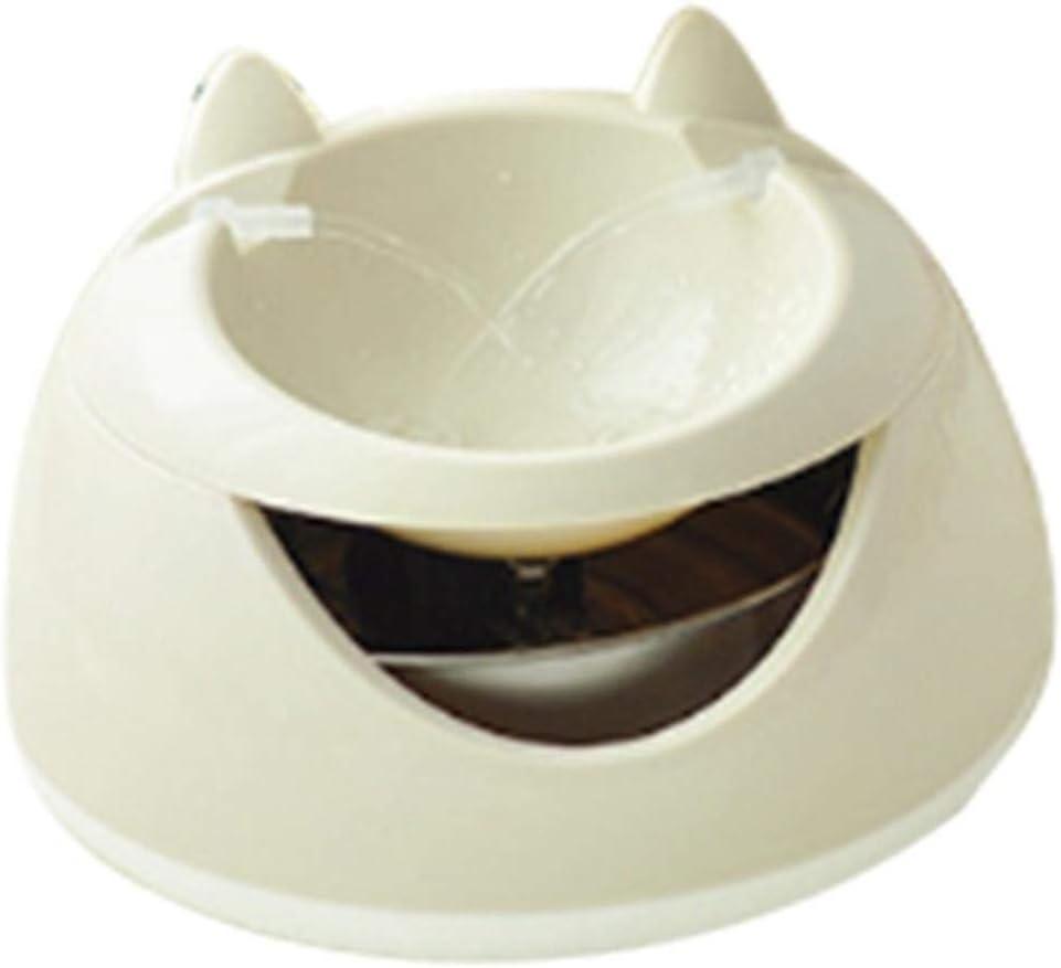 MRDS Fuente de Agua para Mascotas Luminosa automática para Gatos Fuente Perros dispensador de Agua eléctrico USB bebederos para Gatos con Noche, Beige
