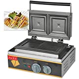 Hanchen Instrument 2 Pces Commercial Electric Panini Press Oven Sandwich Maker Pan Bread Toaster Waffle Iron (FY-113A 110V)