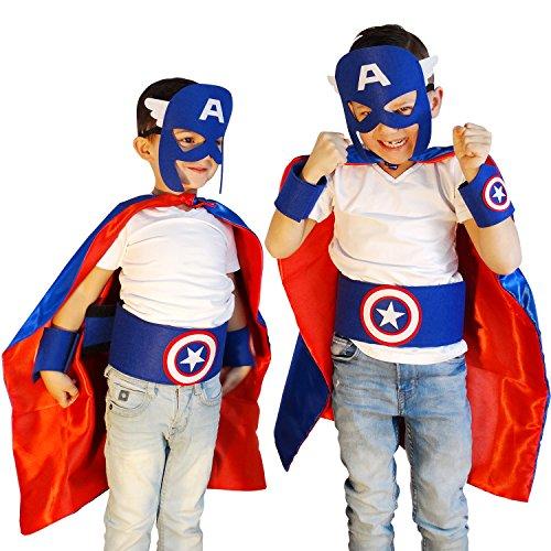 [Captain America Costume   Superhero Cape Set   Including Accessories!] (Kids Captain America Costumes)