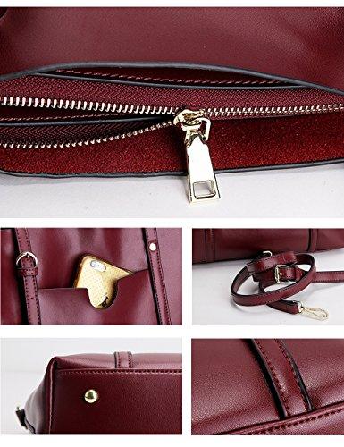 CUKKE Damen Echtes Leder Handtasche Elegant Taschen Schwarz Gelb JlQMPnw