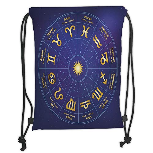 New Fashion Gym Drawstring Backpacks Bags,Astrology,Horoscope Zodiac Signs with Birth Dates in Circle with Star Dots Print Decorative,Royal Blue and Yellow Soft Satin,Adjustable S