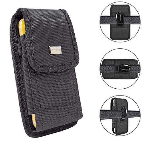 AISCELL Belt Clip Holster for Moto E5 Plus, E5 Supra, G7 Power, One Zoom, Black Pouch Holster Duty Nylon Case Metal Belt Clip Fits Phone with Hybrid Protective Rugged Case Skin Cover Canvas Black