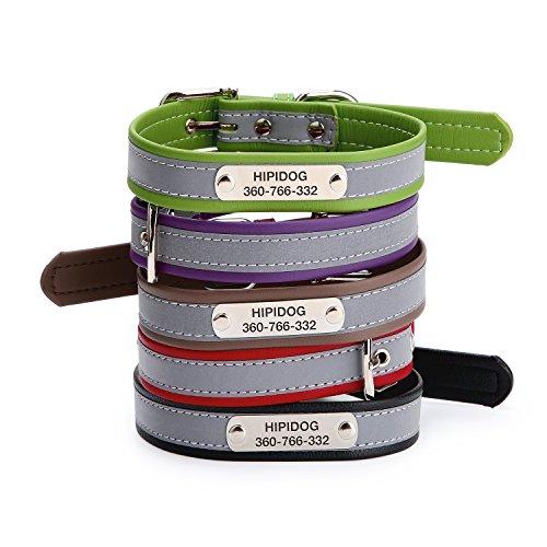 hipidog Personalized Dog Collar- Custom Premium Reflective ID Collar- Deep Laser Engraved Name/Phone/Address- No Noisy & Lightweight - From CA,USA by hipidog