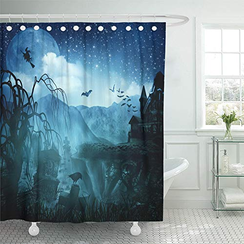 Emvency Shower Curtain Set with Hooks Polyester Fabric Resistant Waterproof Adjustable Green Spooky Abstract Halloween for Your Design Forest Scene Tree Spider Gothic 72 x 72 Inches for -