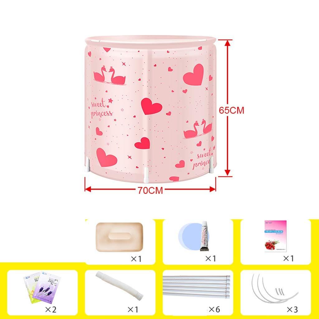 Bathtub - Adult Bathtub Inflatable Bathtub Household Thicken Bathtub Body Folding Bathtub (Color : Pink, Size : A2)