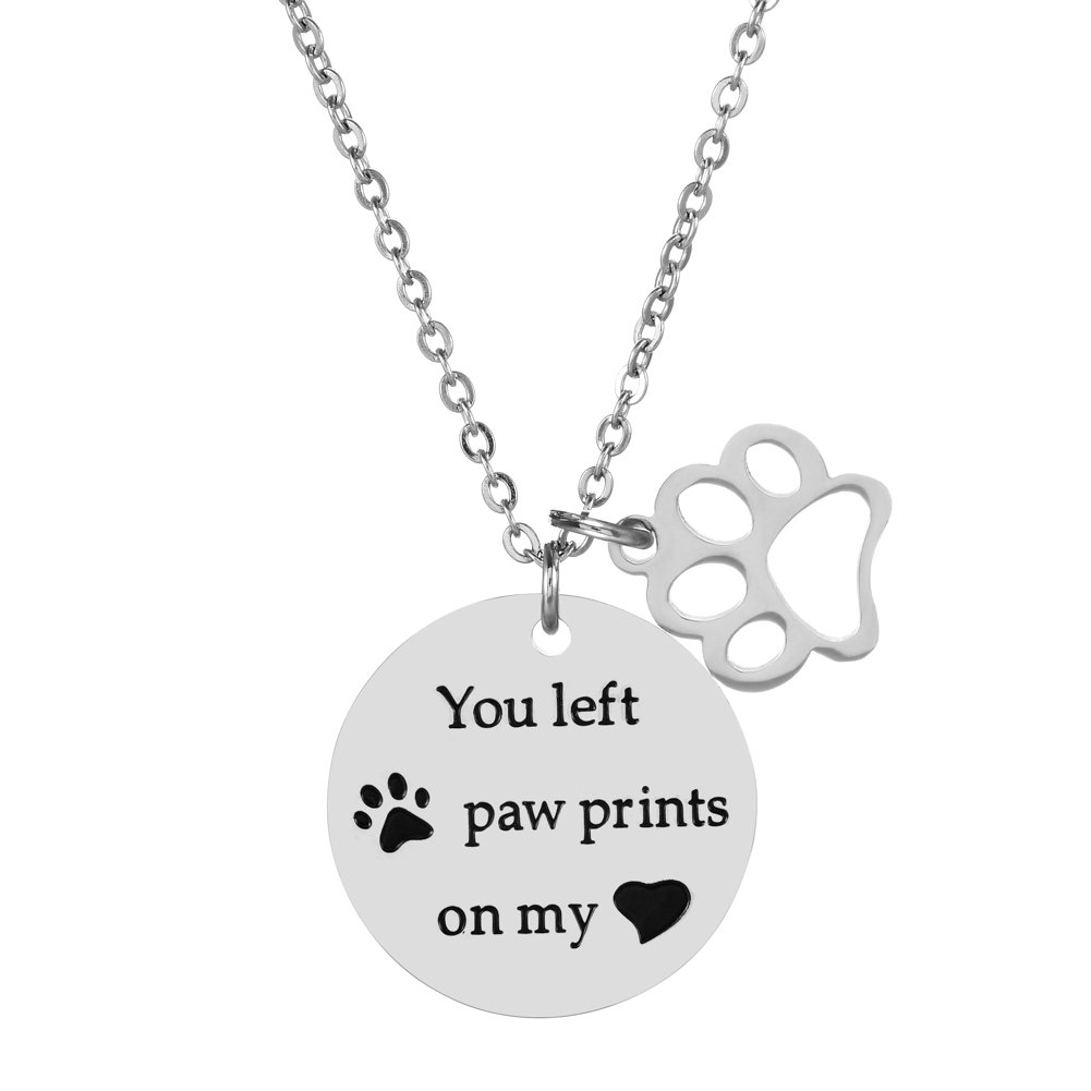 3b1944fc9 My Angel With Paws Silver Pet Memorial Necklace Jewelry With Dog Cat Paw  Stamped Jewelry Collars