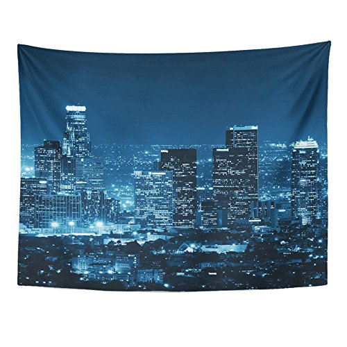 Emvency Tapestry Print 60x80 Inches Black City Los Angeles Downtown Buildings at Night White Skyline California Wall Hangings Home Decor