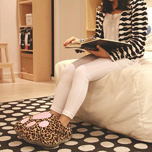 USB Leopard Slipper Plush Soft Cat Warmers Heated For Slippers Heating Winter Women Pink Shoes Men Feet Paw Cute ABCxgrAqw