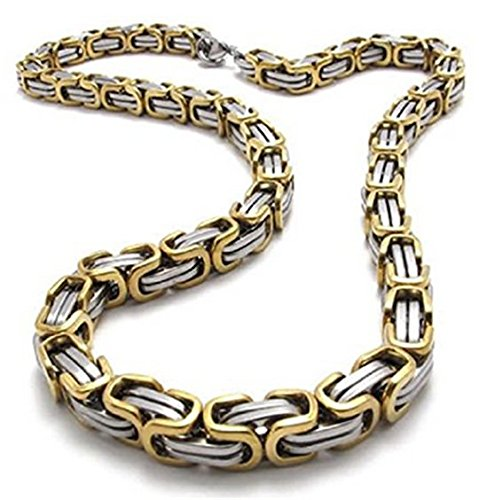 5MM Thick 14k Gold Plated Solid sterling silver 925 stamped Italian Byzantine,Etruscan,Birdcage,Fool's Dilemma Link Chain Necklace Bracelet Anklet Lobster Claw Clasp Jewelry (30 Inches Chain) ()
