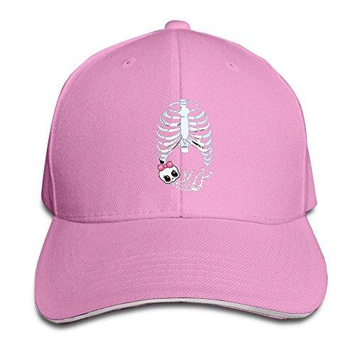 [Runy Custom Baby Girl Skeleton Pregnant Adjustable Sanwich Hunting Peak Hat & Cap Pink] (Pregnant Basketball Costume)