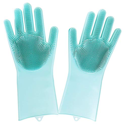 - Magic Silicone Scrubber Rubber Cleaning Gloves, Dusting Dish Washing Pet Care Grooming Hair Car Insulated Kitchen Helper,1 Pair (Green)