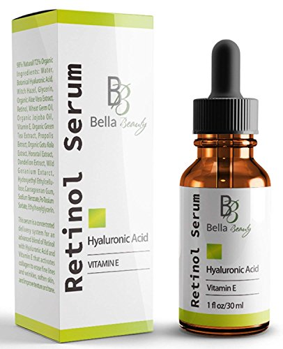 Vitamins Ecco Bella (Anti Aging Hyaluronic Acid and Retinol Serum 2.5% for Face with Vitamin E For Oily Acne Skin - Best Retinol Facial Moisturizer - Reduce Fine Lines - Wrinkle - Dark Spots - Pure Organic Ingredients-1Oz)