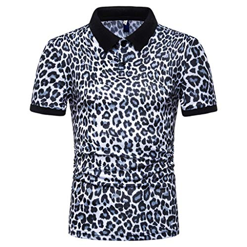 Mens Leopard Print Fashion Short Sleeve Large Size Casual Polo Shirt Tops White
