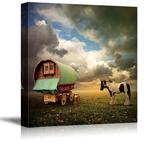 - wall26 - Canvas Prints Wall Art - an Old Gypsy Caravan, Trailer, Wagon with a Horse | Modern Wall Decor/Home Decoration Stretched Gallery Canvas Wrap Giclee Print. Ready to Hang - 24