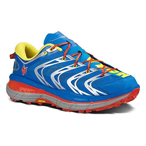 HOKA Speed Goat Men's Trail Running Shoe, Blue/Yellow, UK11.5