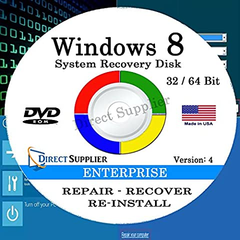 WINDOWS 8 - 32 Bit & 64 Bit DVD SP1, Supports ENTERPRISE. Recover, Repair, Restore or Re-install Windows to Factory Fresh!
