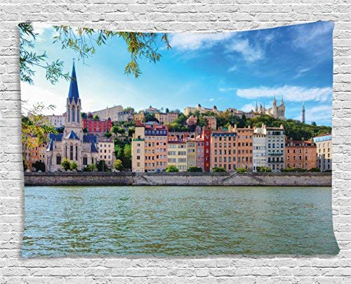 European Tapestry Lyon City Village France with Colorful Historical Cathedral by River Panorama Wall Hangings Tapestries Polyester Fabric Wall Decor 60WX80L inches, Multicolor -