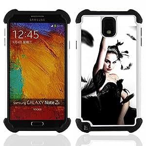 """SAMSUNG Galaxy Note 3 III / N9000 / N9005 - 3 en 1 impreso colorido de Altas Prestaciones PC Funda chaqueta Negro cubierta gel silicona suave (Cisne negro"""")"""