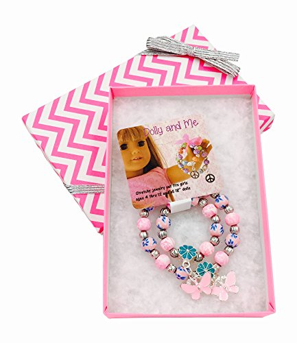 Dolly & Me Matching Charm Bracelet Boxed Gift Set for Girl & 18 inch Doll (Pink/Blue Butterfly)
