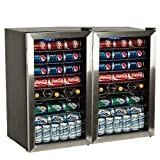 EdgeStar BWC120SSDUAL 206 Can and 10 Bottle Side-by-Side Ultra Low Temp Dual Unit Beverage Cooler For Sale
