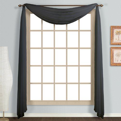 United Curtain Monte Carlo Sheer Scarf, 59 by 144-Inch, Black (Black Scarf Sheer Valance)