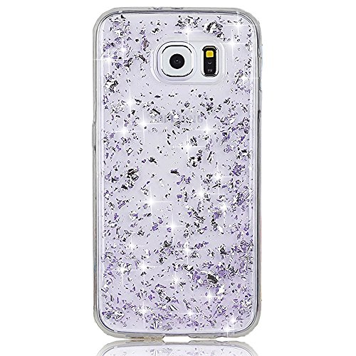 Samsung Galaxy S6 SM-G920F Case, Sunroyal Purple Glitter Clear TPU Transparent Luxury Stylish Shiny Sparkling Soft Silicone Bumper Dual Layer Hybrid Double Protection Cover Cool Liquid Moving Stars