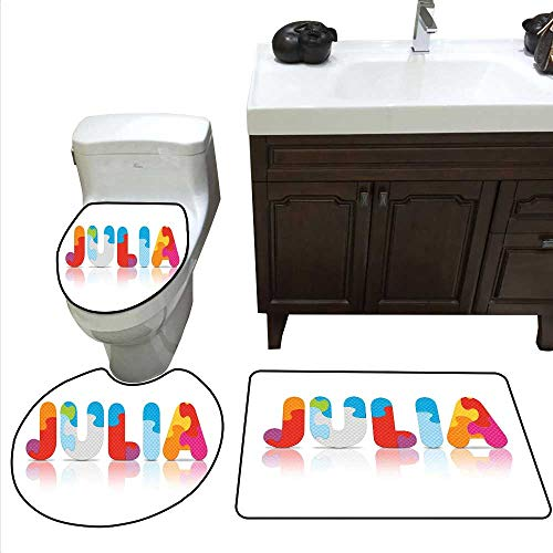 Julia 3 Pc Bath Rug Set Puzzle Style Colorful Letters Preschool Theme Girl Name with Roman Mythology Roots Rug Contour, Mat and Toilet Lid Cover Multicolor ()