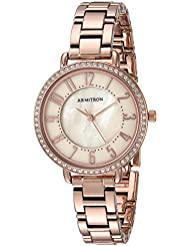 Armitron Womens 75/5471TMRG Swarovski Crystal Accented Easy to Read Dial Rose Gold-Tone Bracelet Watch