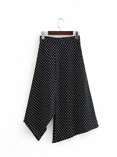 FuweiEncore Femmes Jupe A-Ligne lgante Vintage Round Dots Jupe Femmes Taille Haute Jupe mi-Longue Swing Maxi Noir