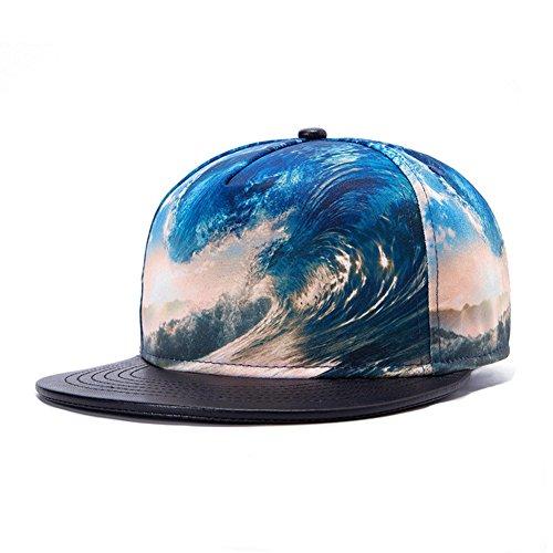 Sunlitro Unisex 3D Printing Flat Bill Baseball Cap Snapback Hip Hop Hat (Wave 020)