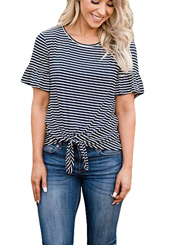 Ruffle Front Top - Poulax Women Casual Ruffle Short Sleeve Striped Knot Tie Front Loose Tee T Shirt Tops,Navy Blue,S