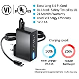 [UL Listed] Pwr+ 6.5 Ft Extra Long 2.1A Rapid USB Charger and Power Adapter for Tablets and eReaders for Use with New Hd Hdx Tablet Phone for Accelerated Charging