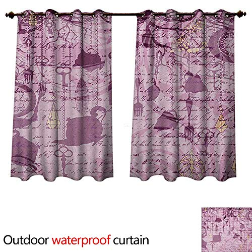 Hanging Estrella Outdoor (Anshesix Tea Party Outdoor Curtains for Patio Sheer Grungy Hanging Tea Cups Clocks and Cutlery Hand Writing Calligraphy W120 x L72(305cm x 183cm))