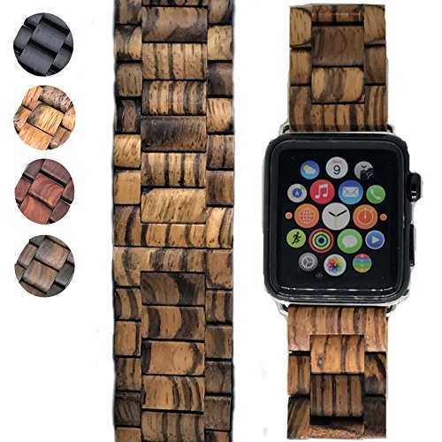 Price comparison product image 42mm Apple Watch Band Replacement - iWatch Series 1, 2 & 3 – Handcrafted Wood - Adjustment Tool Included (Zebrawood)