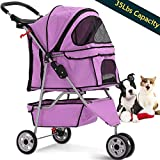 Dog Stroller Pet Stroller Cat Strollers Jogger Folding Travel Carrier Durable 3 Wheels Doggie Cage with Cup Holders 35Lbs Capacity Waterproof Puppy Strolling Cart for Small-Medium Dogs - Cats