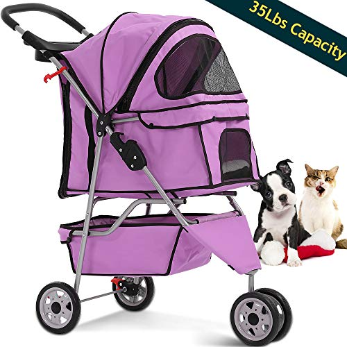Dog Stroller Pet Stroller Cat Strollers Jogger Folding Travel Carrier Durable 3 Wheels Doggie Cage with Cup Holders 35Lbs Capacity Waterproof Puppy Strolling Cart for Small-Medium Dogs, Cats ()