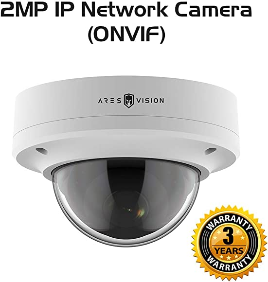 Ares Vision 2MP IP Network High Definition POE CCTV Dome Camera w IR Night Vision, Vandal Proof Glass