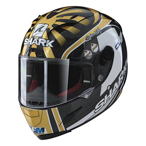 (Shark Helmets RACE-R PRO Replica Zarco - CARBON/GOLD / WHITE - S)