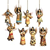 Collections Etc Southwest Angel Christmas Ornaments, Native American, Set of 8