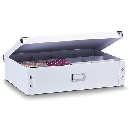 diversifié dans l'emballage produits chauds Conception innovante Zeller 17769 Boite de rangement en carton pour cravates et ceintures blanc,  44,5 x 31,5 x 11 cm
